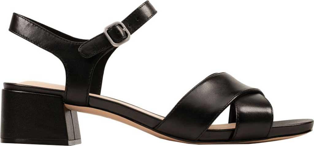 Women's Clarks Sheer35 Cross Strap Sandal, Black Leather, large, image 2