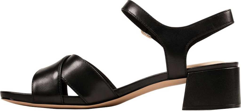 Women's Clarks Sheer35 Cross Strap Sandal, Black Leather, large, image 3