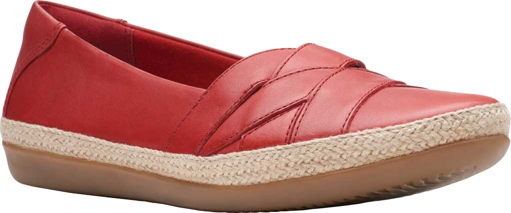 Women's Clarks Danelly Shine Espadrille Flat, Red Leather, large, image 1