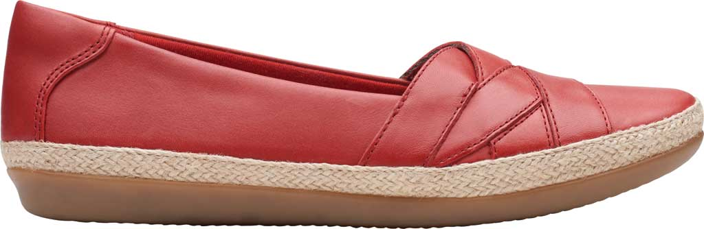 Women's Clarks Danelly Shine Espadrille Flat, Red Leather, large, image 2
