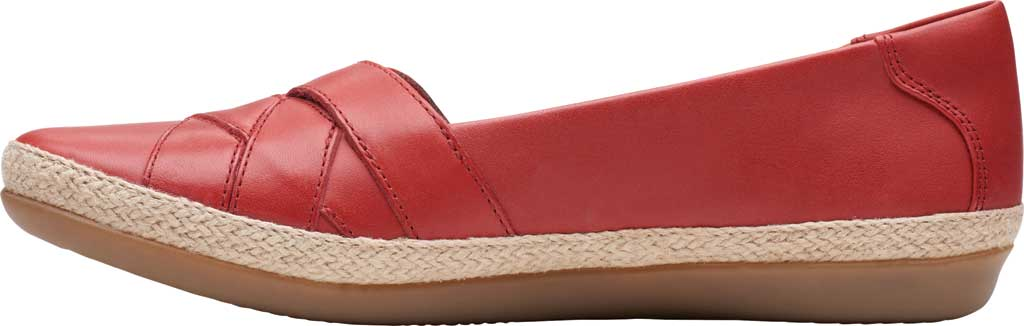 Women's Clarks Danelly Shine Espadrille Flat, Red Leather, large, image 3