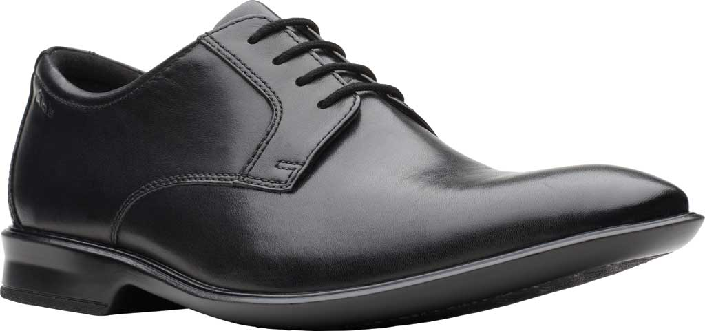 Men's Clarks Bensley Lace Oxford, Black Full Grain Leather, large, image 1