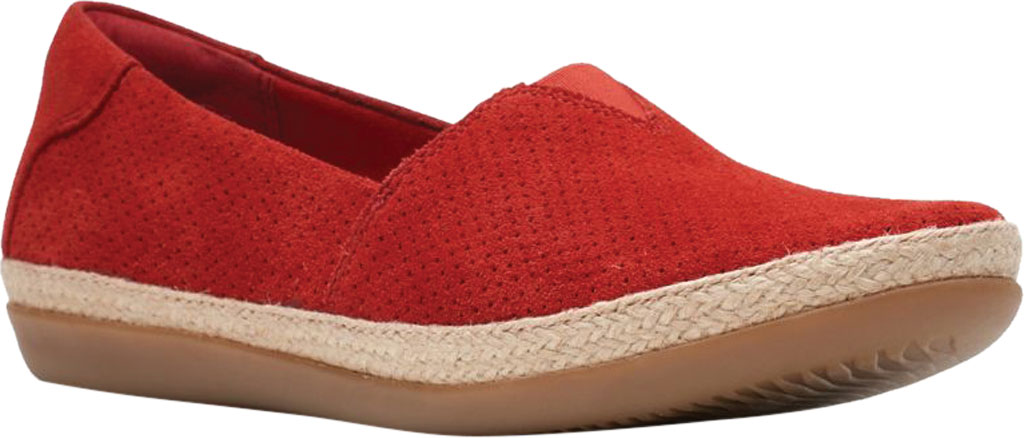 Women's Clarks Danelly Sky Espadrille Flat, Red Suede, large, image 1