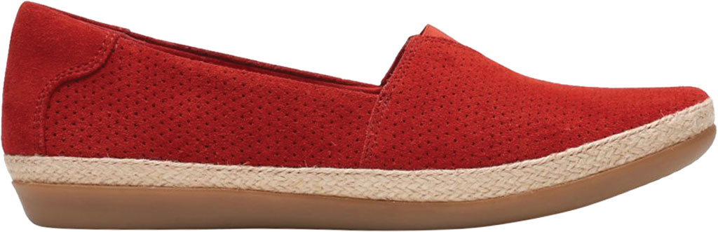Women's Clarks Danelly Sky Espadrille Flat, Red Suede, large, image 2