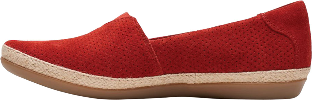 Women's Clarks Danelly Sky Espadrille Flat, Red Suede, large, image 3