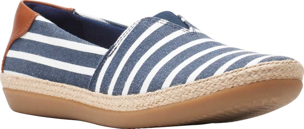 Women's Clarks Danelly Sky Espadrille Flat, Navy Combination Textile/Synthetic, large, image 1