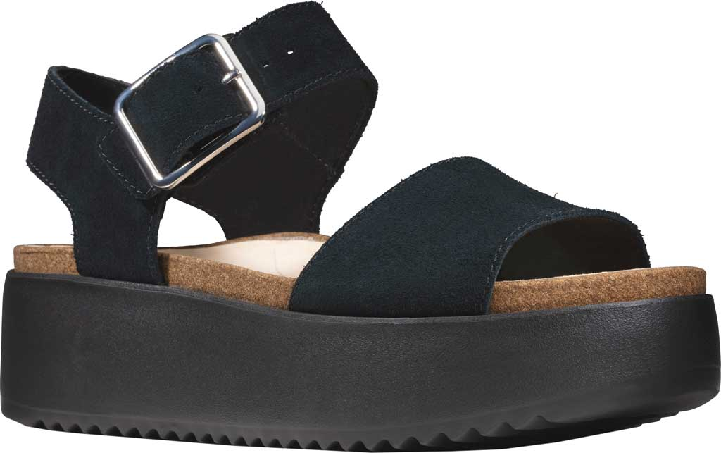 Women's Clarks Botanic Strap Platform Sandal, Black Suede, large, image 1
