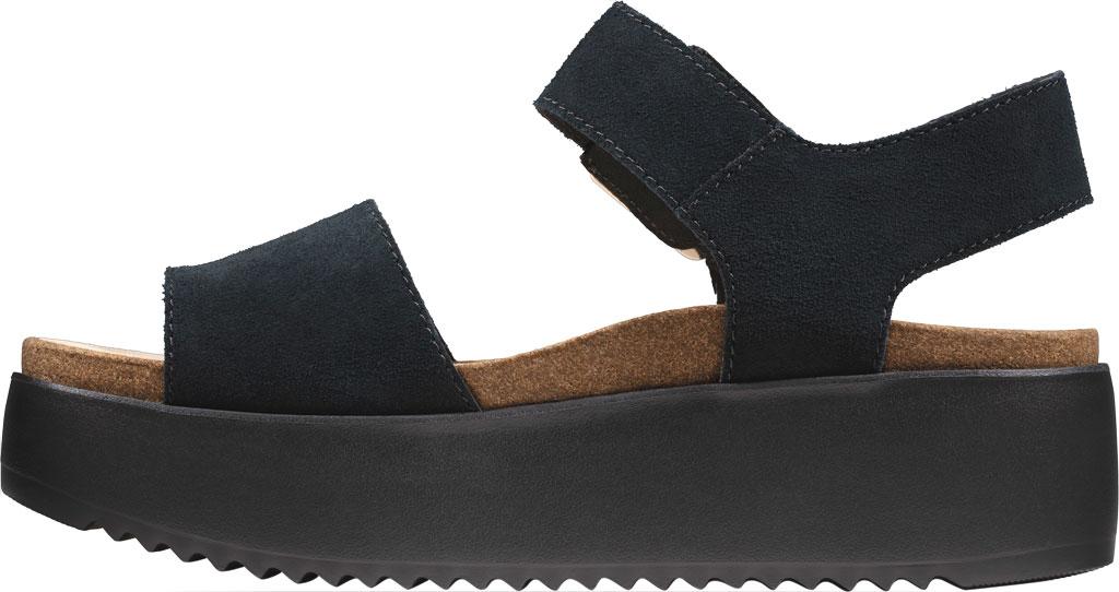 Women's Clarks Botanic Strap Platform Sandal, Black Suede, large, image 3