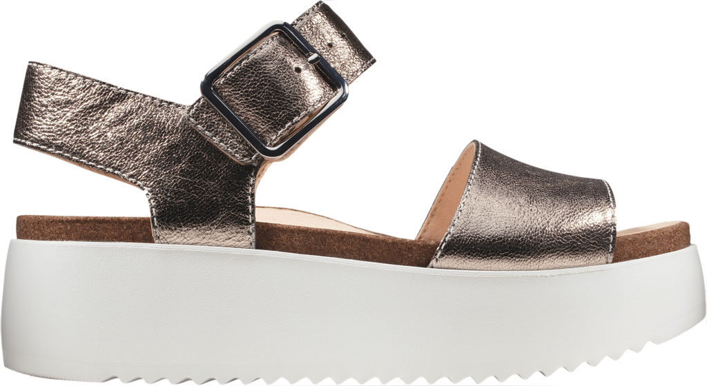 Women's Clarks Botanic Strap Platform Sandal, Stone Metallic Leather, large, image 2
