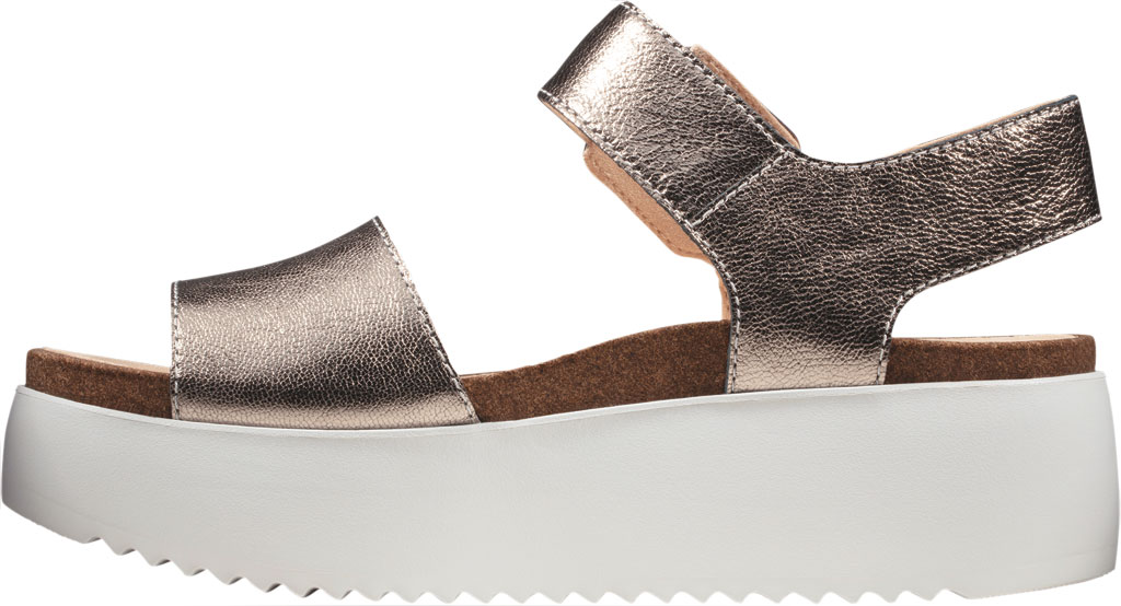 Women's Clarks Botanic Strap Platform Sandal, Stone Metallic Leather, large, image 3