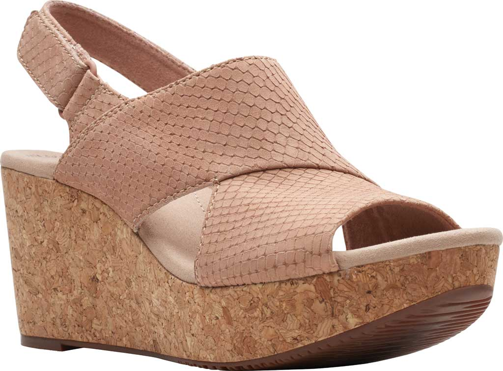 Women's Clarks Annadel Sky Wedge Sandal, Blush Interest Nubuck, large, image 1