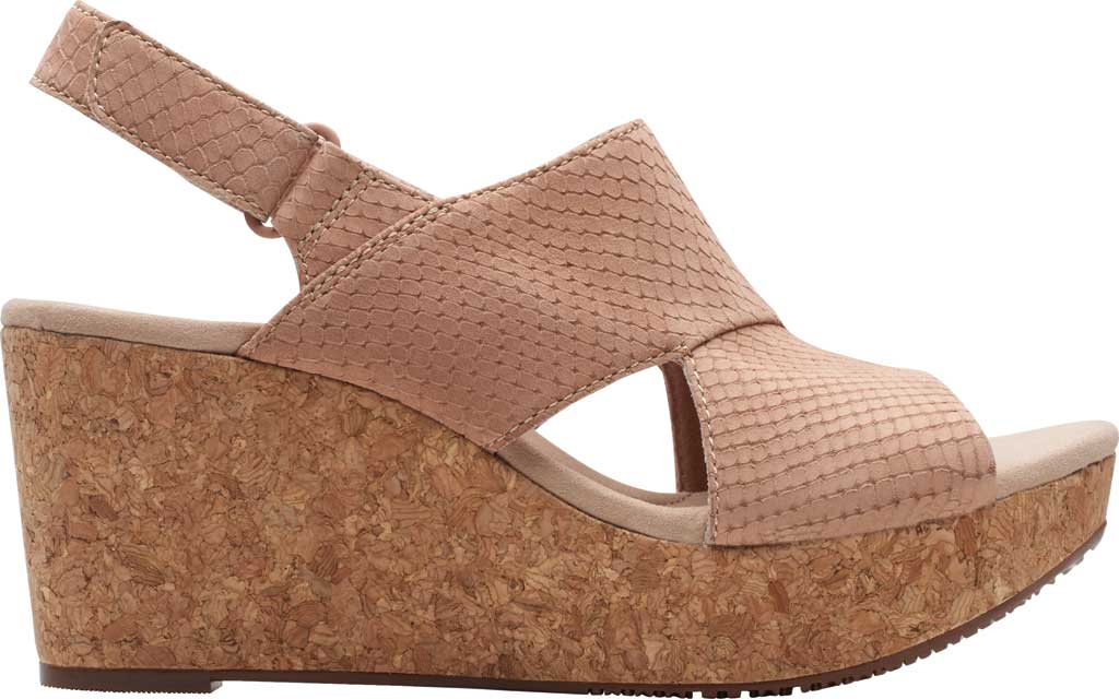 Women's Clarks Annadel Sky Wedge Sandal, Blush Interest Nubuck, large, image 2