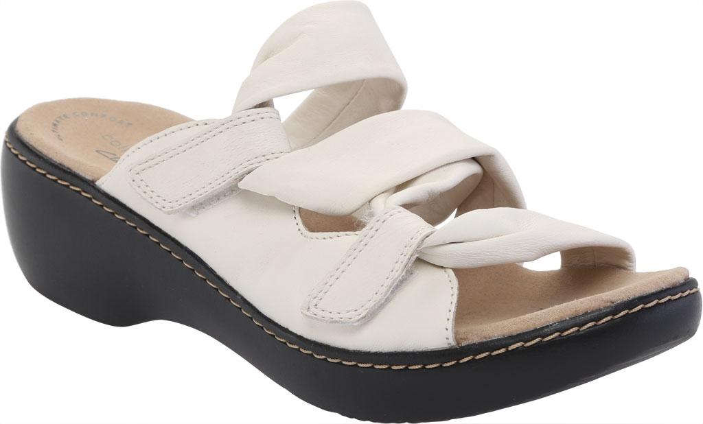 Women's Clarks Delana Jazz Slide, White Full Grain Leather, large, image 1