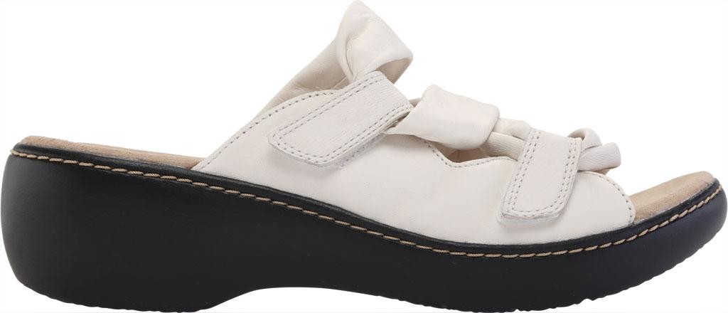 Women's Clarks Delana Jazz Slide, White Full Grain Leather, large, image 2