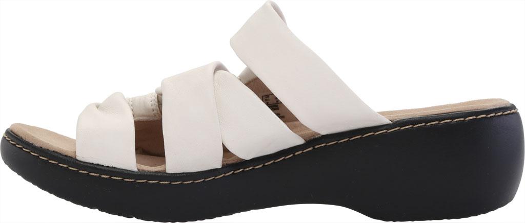 Women's Clarks Delana Jazz Slide, White Full Grain Leather, large, image 3
