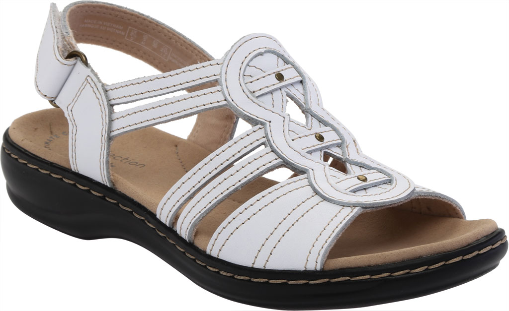 Women's Clarks Leisa Janna Slingback Sandal, White Full Grain Leather, large, image 1