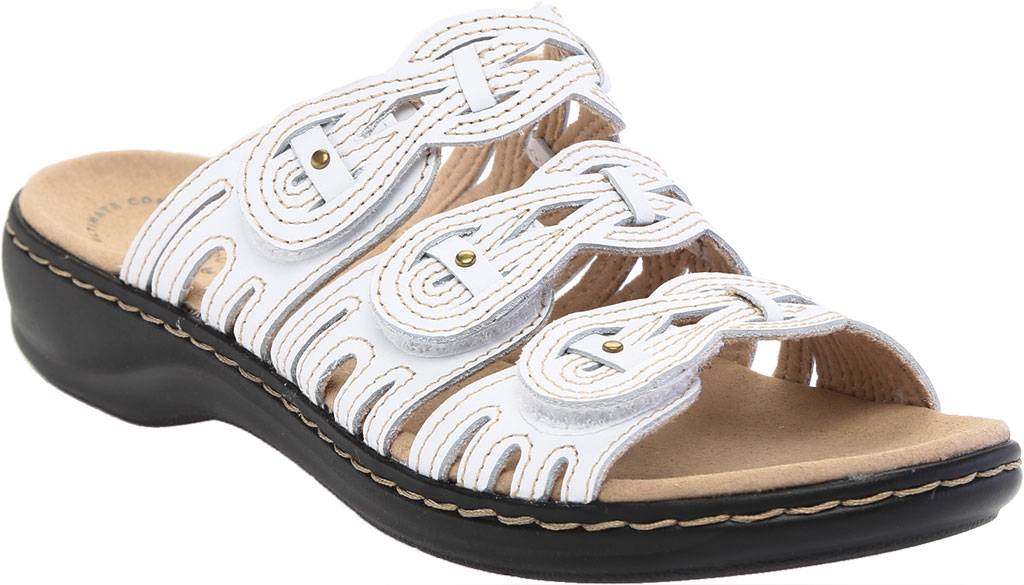 Women's Clarks Leisa Faye Slide, White Leather, large, image 1