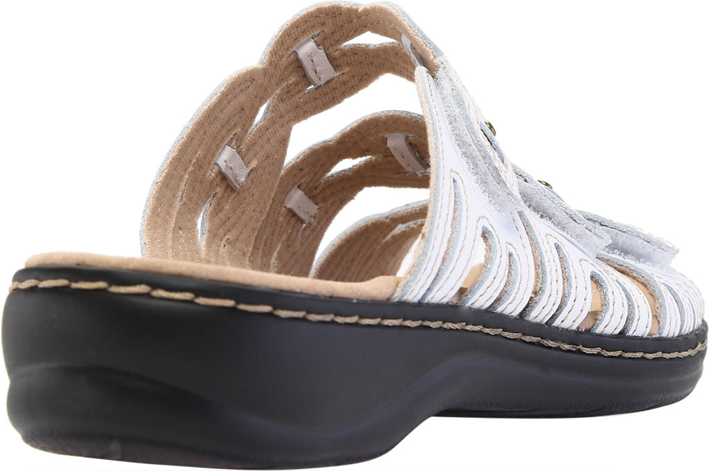 Women's Clarks Leisa Faye Slide, White Leather, large, image 4