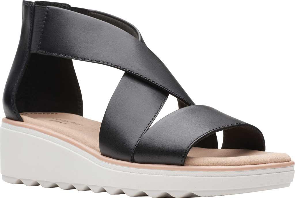 Women's Clarks Jillian Rise Wedge Sandal, Black Leather, large, image 1