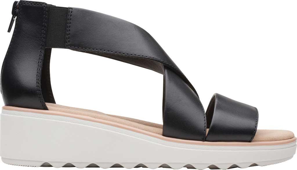 Women's Clarks Jillian Rise Wedge Sandal, Black Leather, large, image 2