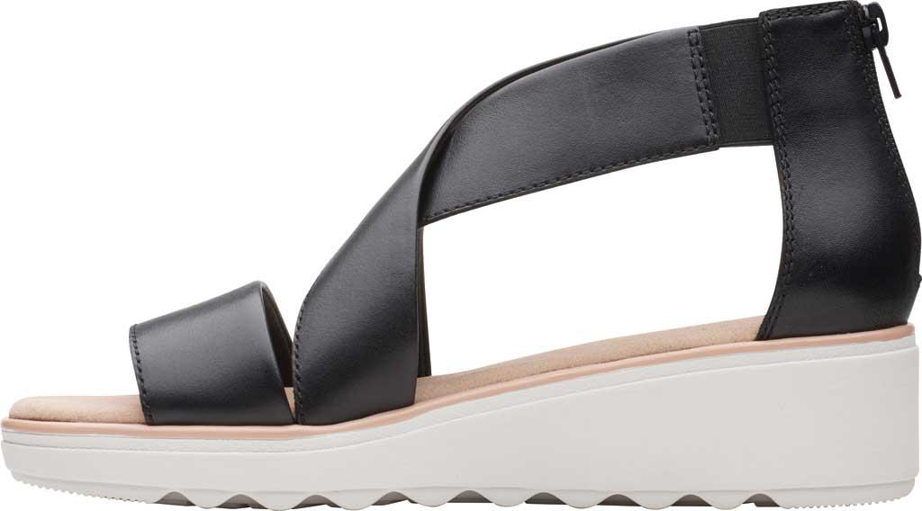 Women's Clarks Jillian Rise Wedge Sandal, Black Leather, large, image 3