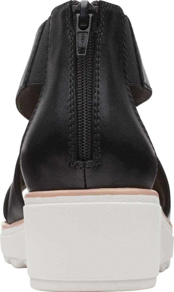 Women's Clarks Jillian Rise Wedge Sandal, Black Leather, large, image 4