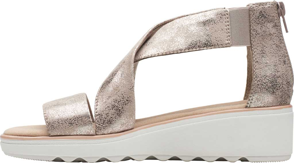 Women's Clarks Jillian Rise Wedge Sandal, Pewter Metallic Leather, large, image 3