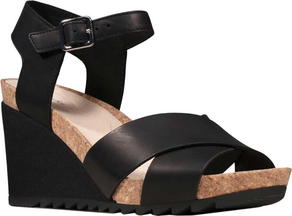 Women's Clarks Flex Sun Wedge Sandal, Black Leather, large, image 1