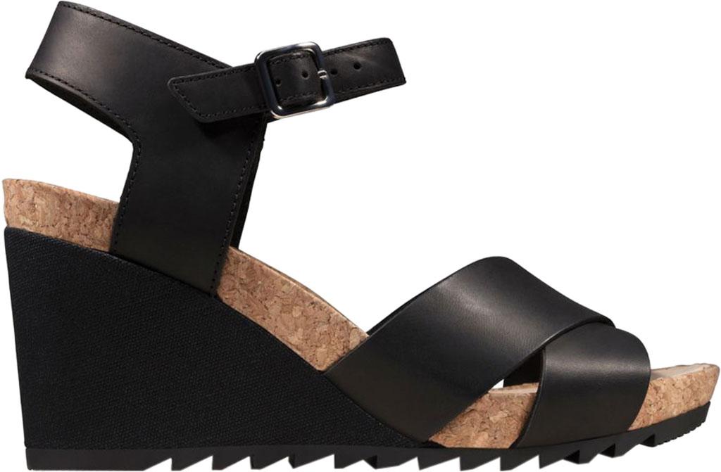 Women's Clarks Flex Sun Wedge Sandal, Black Leather, large, image 2