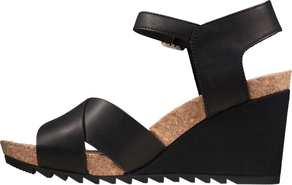 Women's Clarks Flex Sun Wedge Sandal, Black Leather, large, image 3