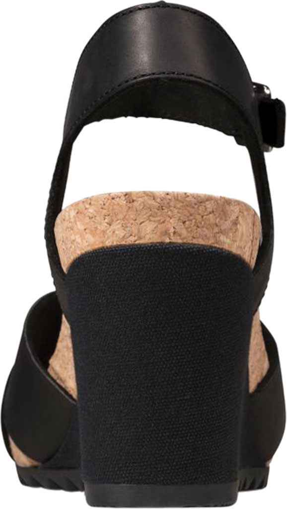 Women's Clarks Flex Sun Wedge Sandal, Black Leather, large, image 4