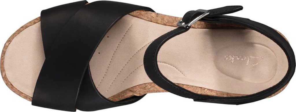 Women's Clarks Flex Sun Wedge Sandal, Black Leather, large, image 5