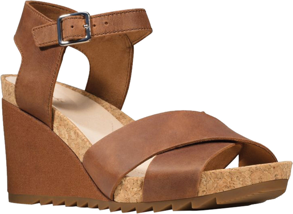Women's Clarks Flex Sun Wedge Sandal, Tan Leather, large, image 1