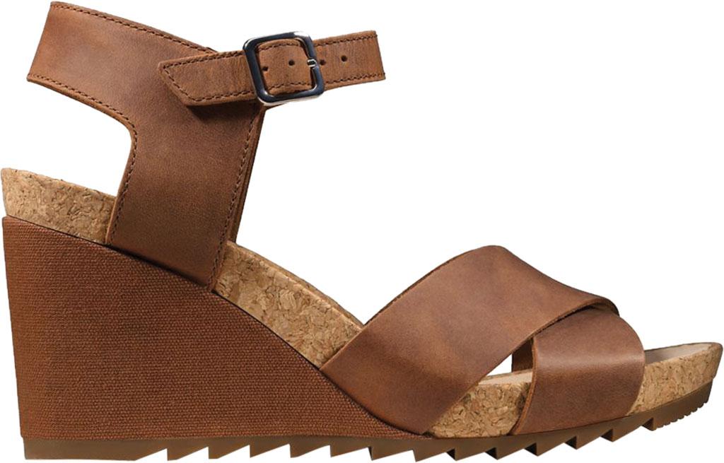 Women's Clarks Flex Sun Wedge Sandal, Tan Leather, large, image 2