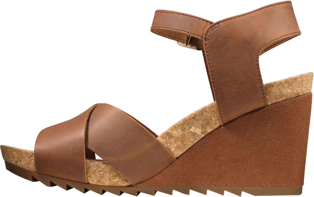 Women's Clarks Flex Sun Wedge Sandal, Tan Leather, large, image 3