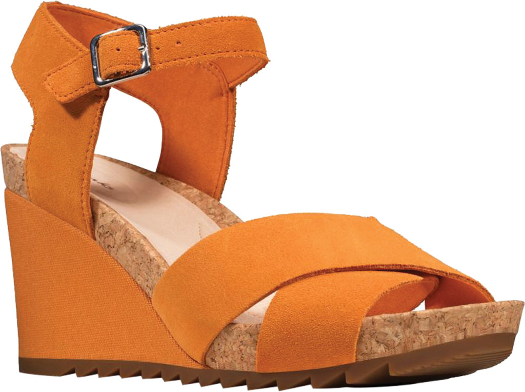 Women's Clarks Flex Sun Wedge Sandal, Amber Suede, large, image 1