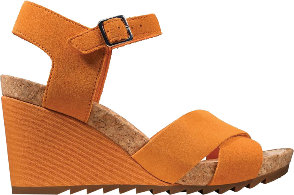 Women's Clarks Flex Sun Wedge Sandal, Amber Suede, large, image 2