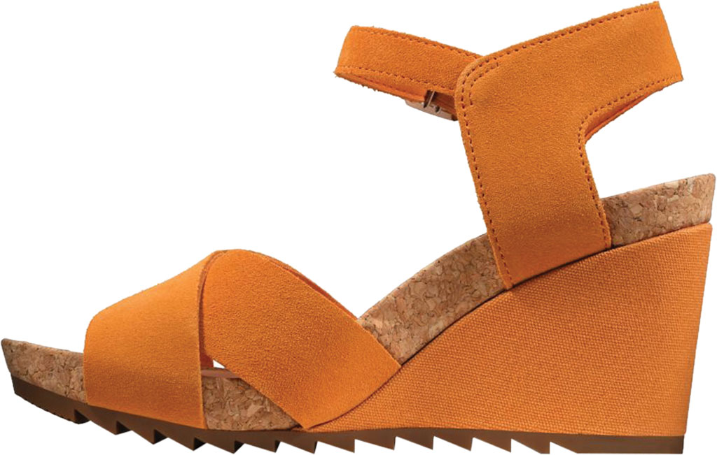 Women's Clarks Flex Sun Wedge Sandal, Amber Suede, large, image 3