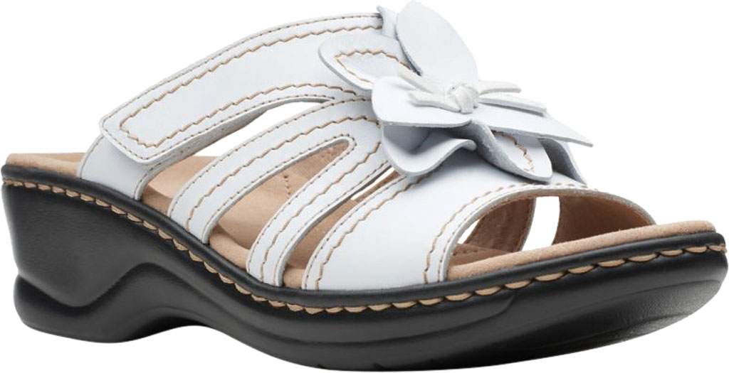 Women's Clarks Lexi Opal Slide, White Full Grain Leather, large, image 1