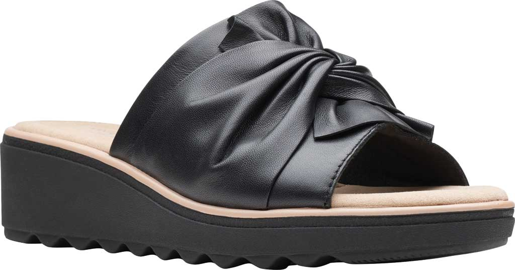 Women's Clarks Jillian Leap Wedge Slide, Black Leather, large, image 1