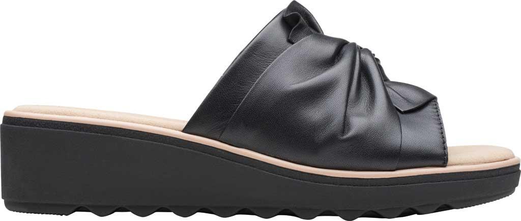 Women's Clarks Jillian Leap Wedge Slide, Black Leather, large, image 2