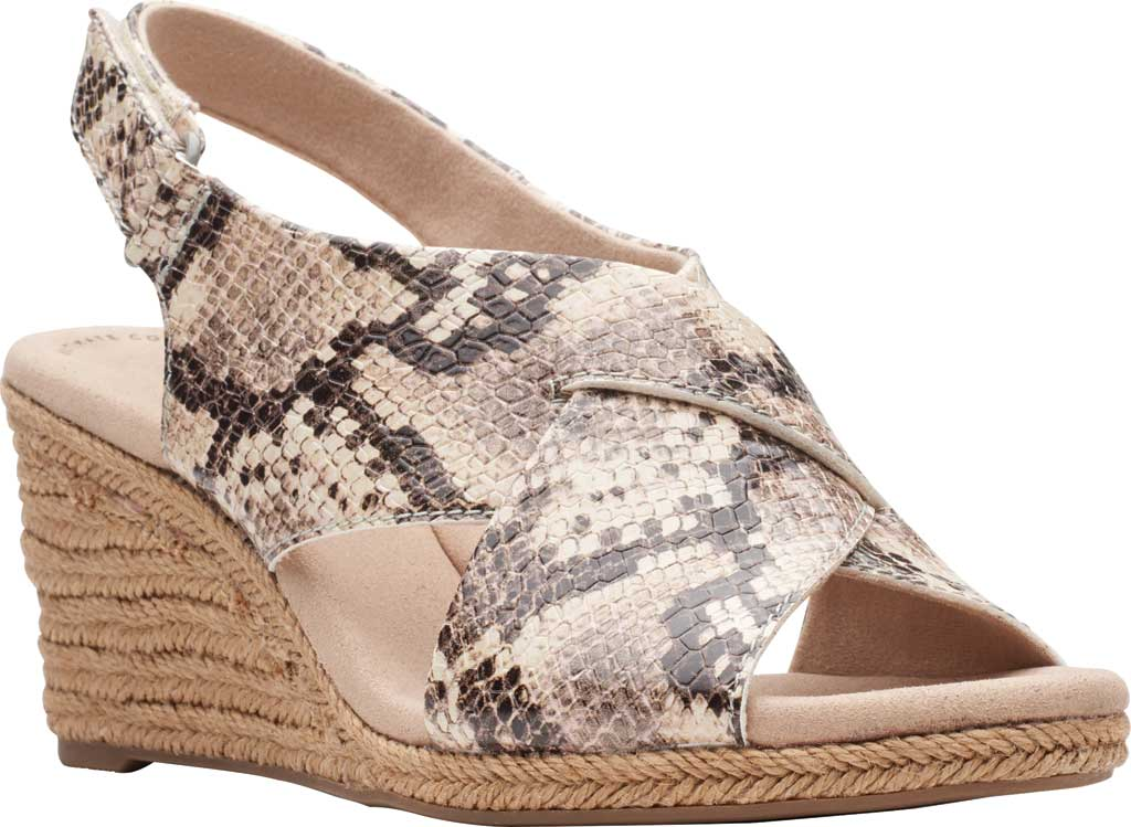 Women's Clarks Lafley Alaine Wedge Sandal, Taupe Snake Synthetic Leather, large, image 1