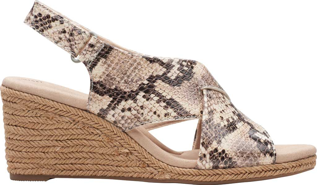 Women's Clarks Lafley Alaine Wedge Sandal, Taupe Snake Synthetic Leather, large, image 2
