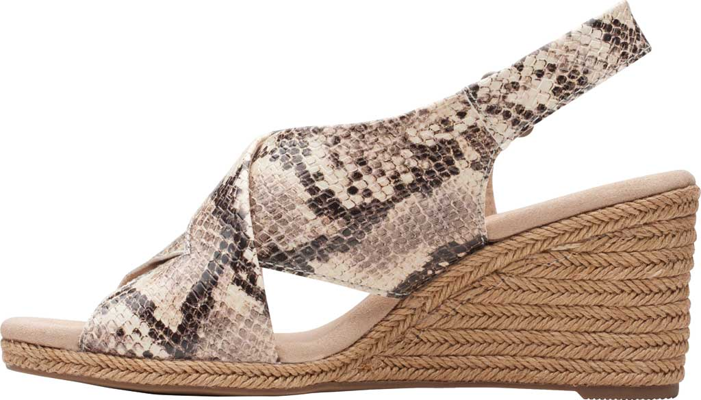 Women's Clarks Lafley Alaine Wedge Sandal, Taupe Snake Synthetic Leather, large, image 3