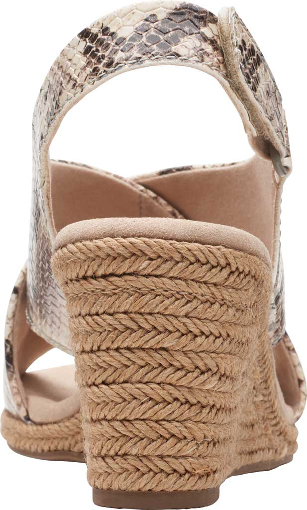 Women's Clarks Lafley Alaine Wedge Sandal, Taupe Snake Synthetic Leather, large, image 4