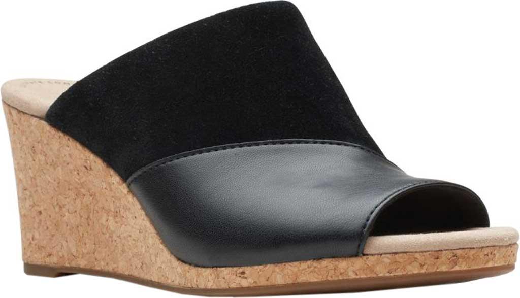 Women's Clarks Lafley Wave Wedge Slide, Black Suede/Leather, large, image 1
