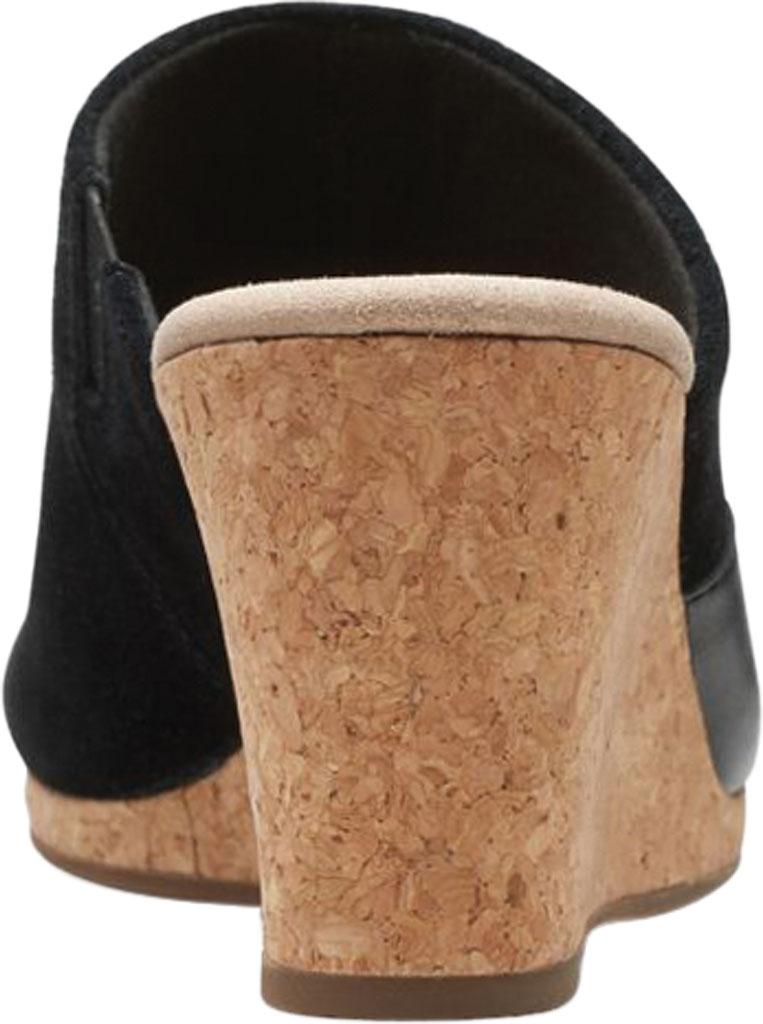Women's Clarks Lafley Wave Wedge Slide, Black Suede/Leather, large, image 4