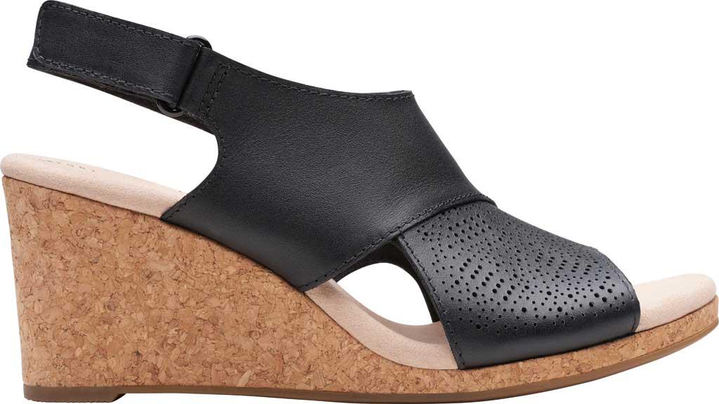 Women's Clarks Lafley Joy Perforated Wedge Sandal, Black Leather, large, image 2
