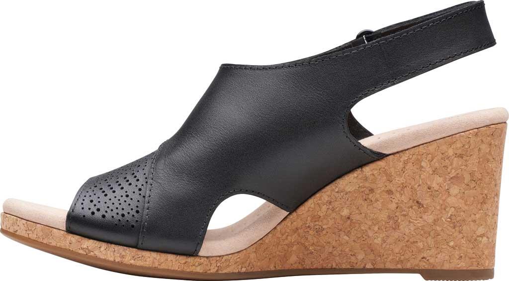 Women's Clarks Lafley Joy Perforated Wedge Sandal, Black Leather, large, image 3