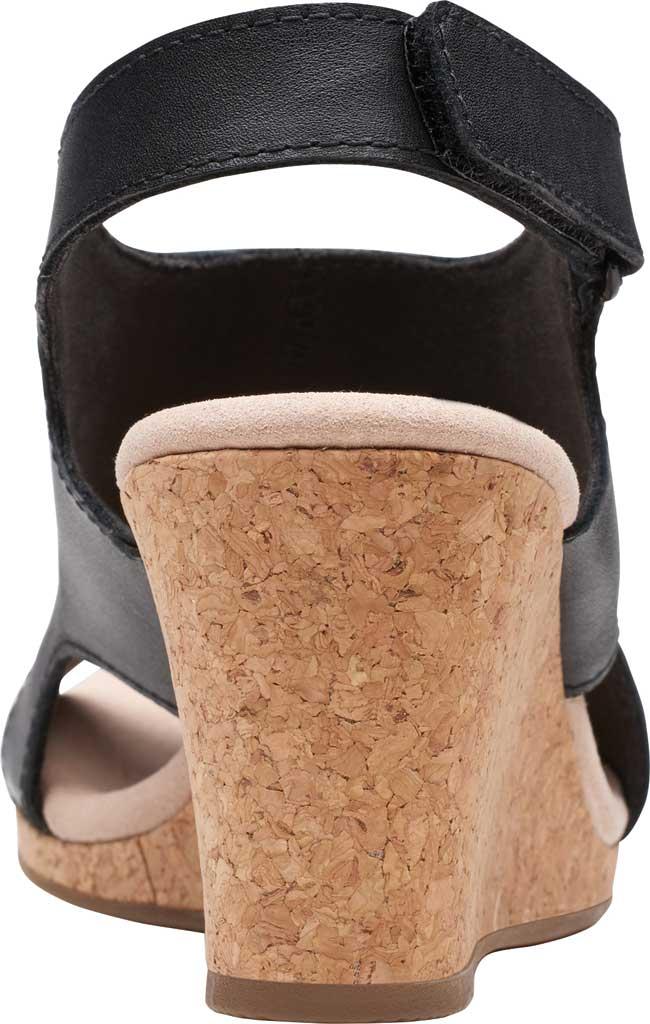 Women's Clarks Lafley Joy Perforated Wedge Sandal, Black Leather, large, image 4